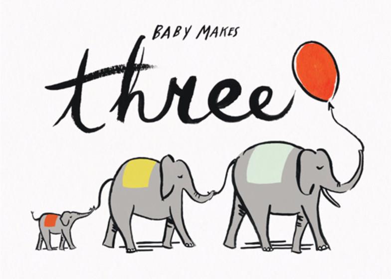 Baby Makes Three   Personalised Congratulations Card