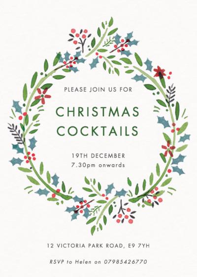 Jingle Wreath   Personalised Party Invitation