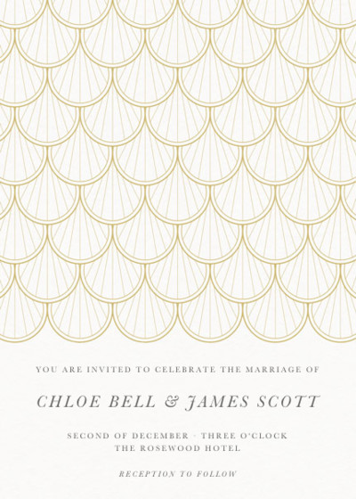 Gold Scallop | Personalised Wedding Invitation