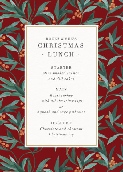 Audrey | Personalised Menu