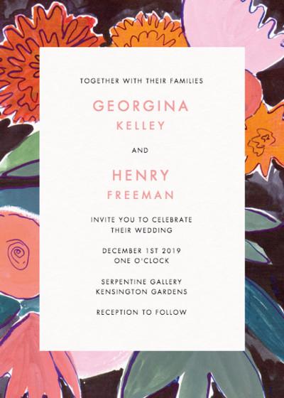Dahlias   Personalised Wedding Invitation