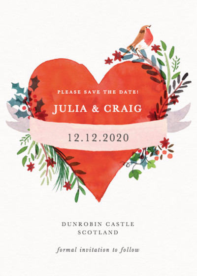 Christmas Heart | Personalised Save The Date