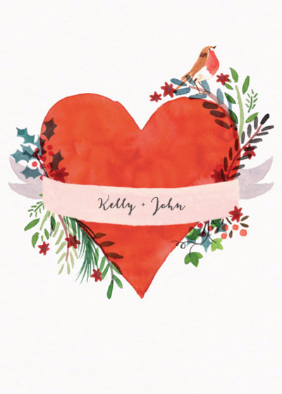 Winter Heart   Personalised Greeting Card