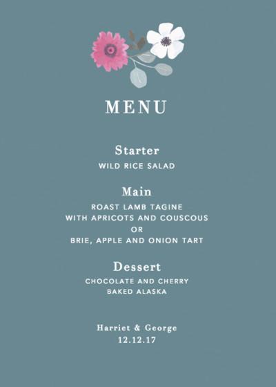 Winter Poppies | Personalised Menu