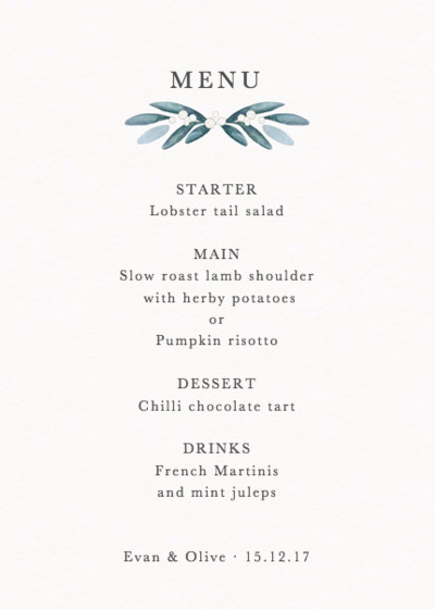 Mistletoe Wreath | Personalised Menu