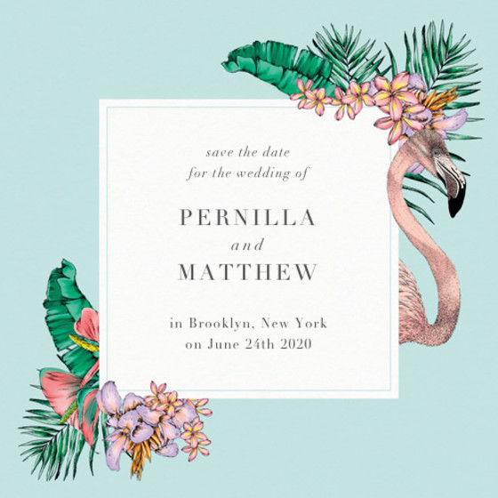 Flamingo Bay | Personalised Save The Date