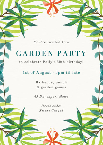 Palm Flower   Personalised Party Invitation