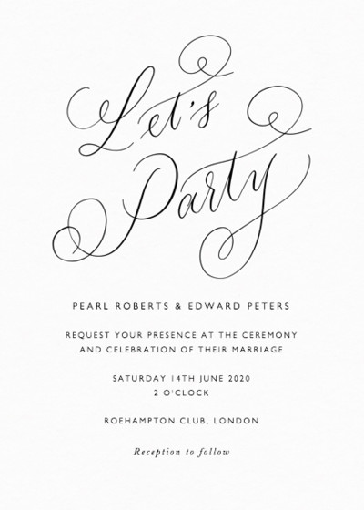 Let's Party Calligraphy | Personalised Wedding Invitation