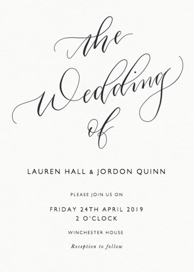 The Wedding Of Calligraphy | Personalised Wedding Invitation