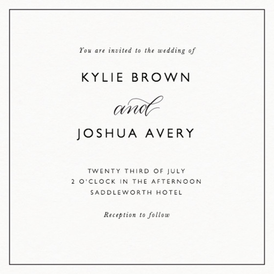 And Calligraphy | Personalised Wedding Invitation