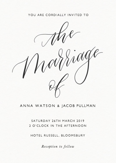 The Marriage Of Calligraphy   Personalised Wedding Invitation