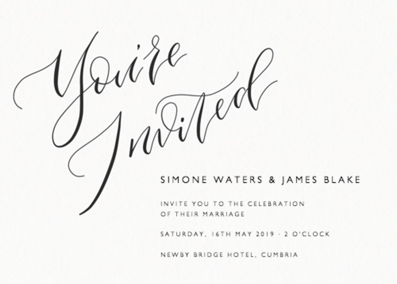 You're Invited Calligrafia   Personalised Wedding Invitation