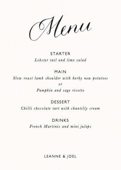 Calligraphy Menu | Personalised Menu