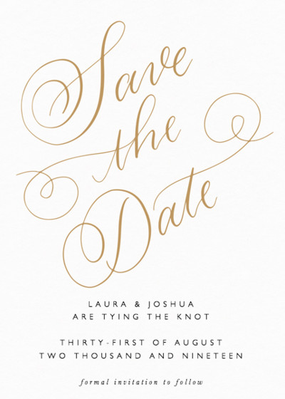 Classic Calligraphy Gold | Personalised Save The Date