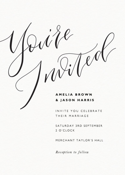 You're Invited Calligraphy | Personalised Wedding Invitation