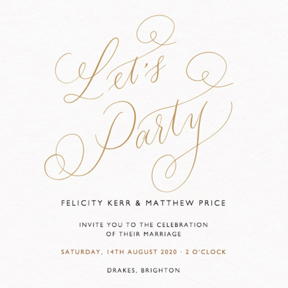 Let's Party Gold | Personalised Wedding Invitation