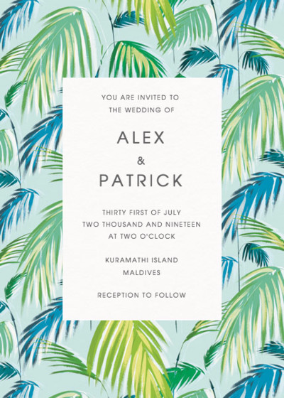 Palm | Personalised Wedding Invitation