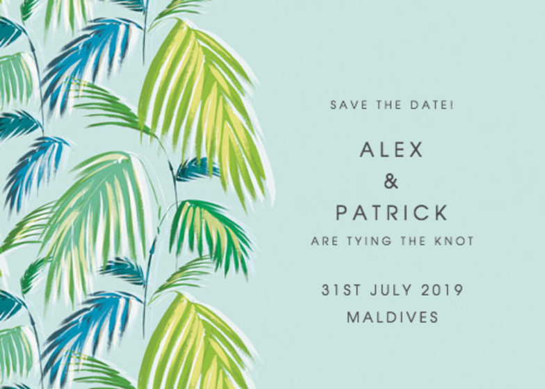 Palm   Personalised Save The Date