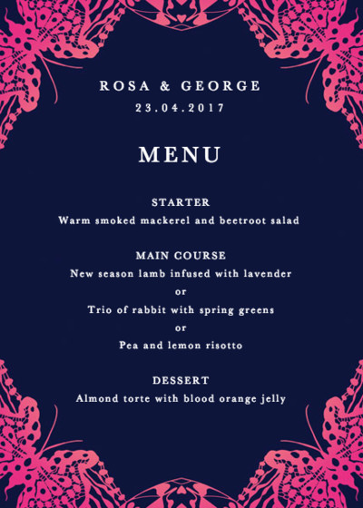 Wing Lace | Personalised Menu