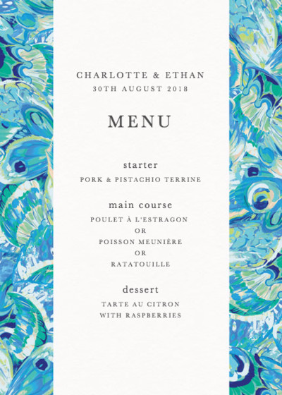 Butterfly Marble | Personalised Menu
