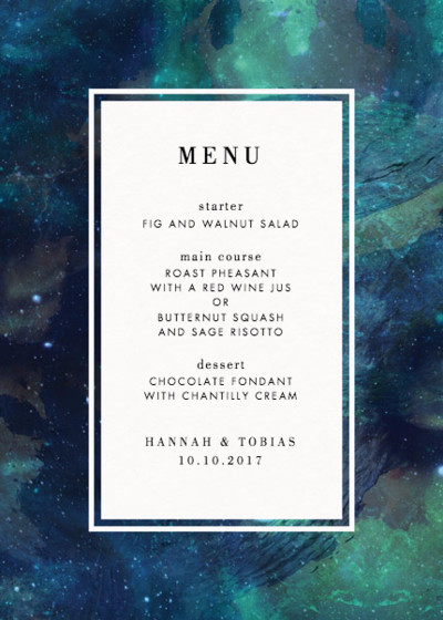 Patina Galaxy | Personalised Menu