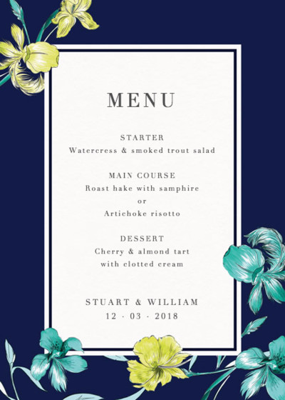 Intricate Feathers | Personalised Menu