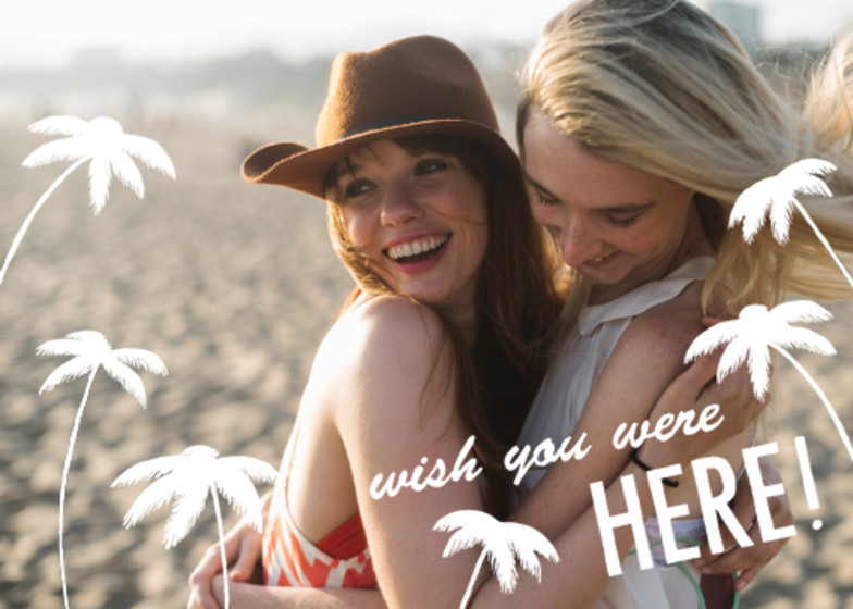 Wish You Were Here Palm Photo | Personalised Greeting Card