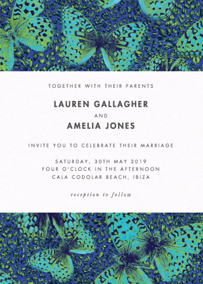 Butterfly Leopard | Personalised Wedding Invitation