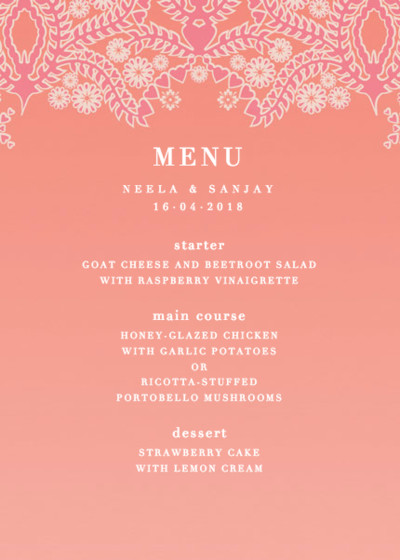 Sunset Lace | Personalised Menu