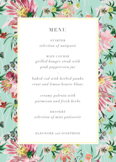 Jungle Bloom | Personalised Menu