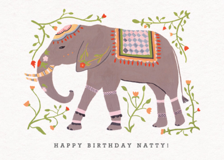 Eastern Elephant | Personalised Birthday Card