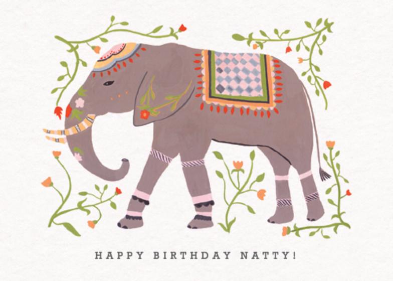 Eastern Elephant   Personalised Birthday Card