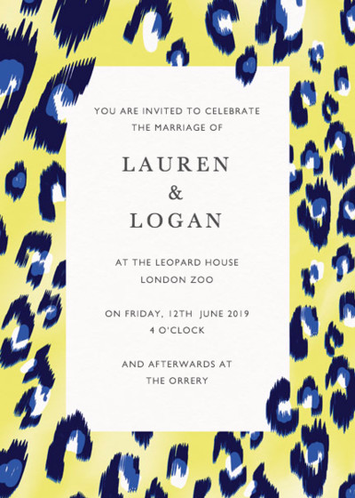 Electro Leopard   Personalised Wedding Invitation