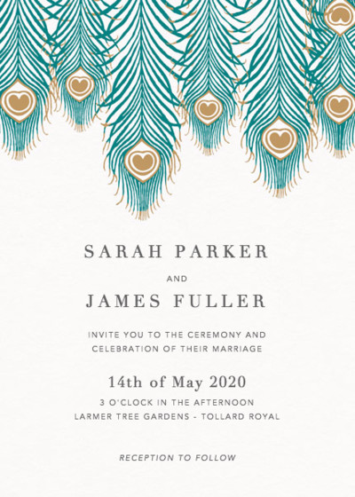 Peacock Feathers | Personalised Wedding Invitation