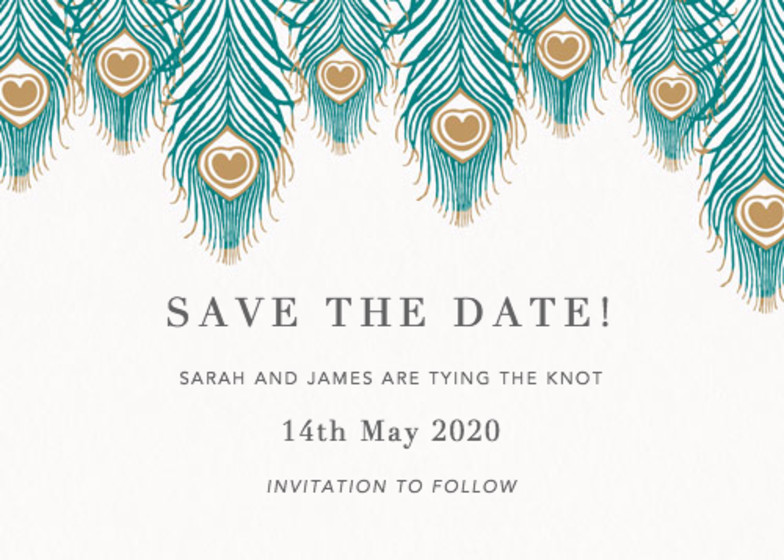 Peacock Feathers | Personalised Save The Date