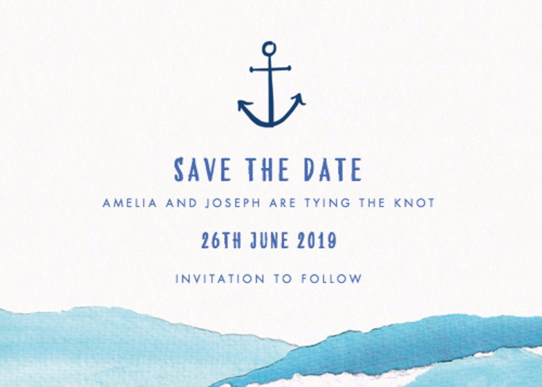 Nautical Waves   Personalised Save The Date