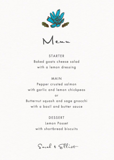 Flora And Fauna | Personalised Menu