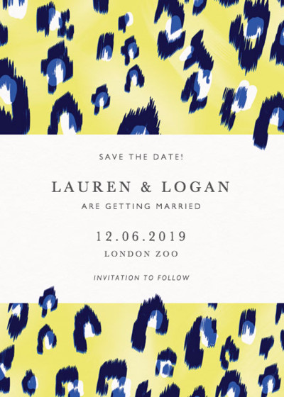 Electro Leopard | Personalised Save The Date