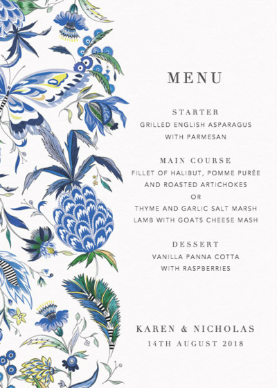 Pineapple Paisley | Personalised Menu
