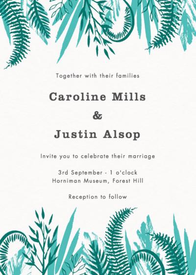 Tropical Foliage | Personalised Wedding Invitation