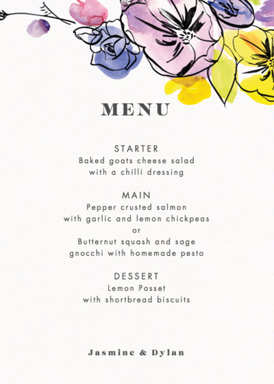 Spring Fete | Personalised Menu