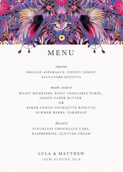 Mother Amazon | Personalised Menu
