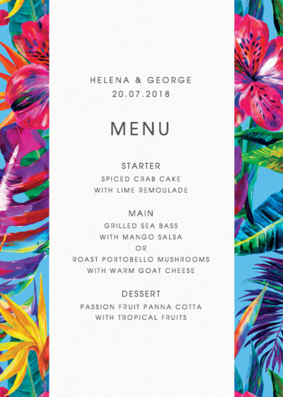 Blue Maracas | Personalised Menu