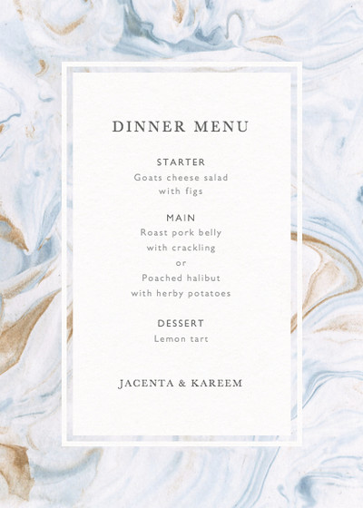 Marbled Bleu | Personalised Menu