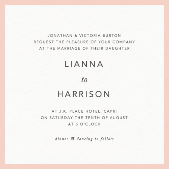 Blush Border | Personalised Wedding Invitation