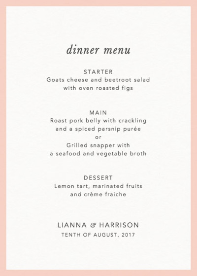 Blush Border | Personalised Menu