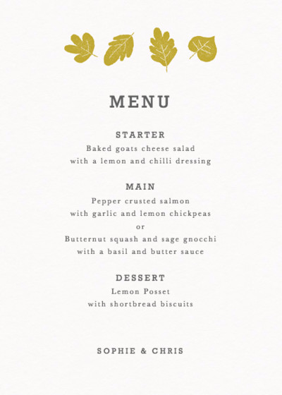 Summer Camp | Personalised Menu
