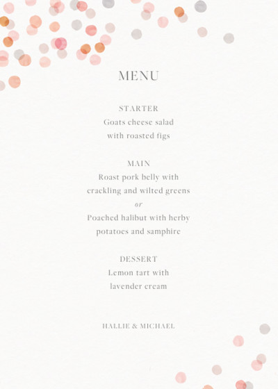 Blush Confetti | Personalised Menu