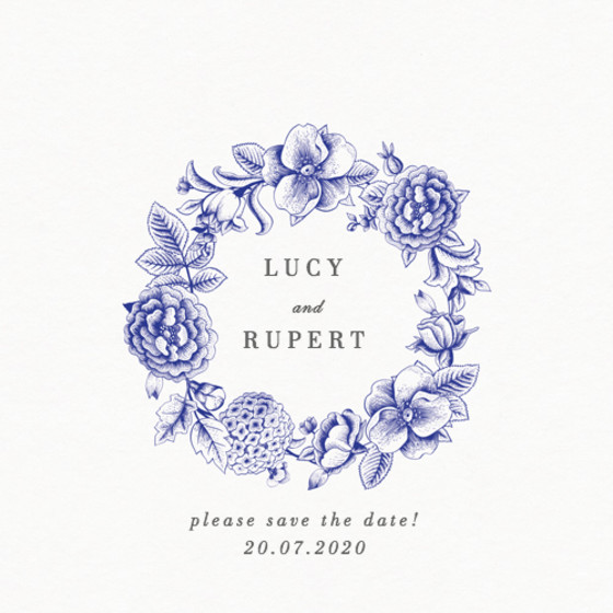 Blue Hydrangea | Personalised Save The Date