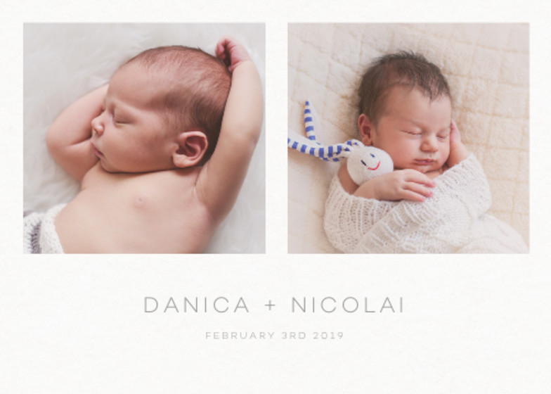 Landscape Twins Photo | Personalised Birth Announcement